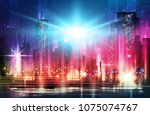 night city background. urban... | Shutterstock . vector #1075074767