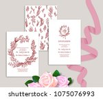 set of wedding stationery... | Shutterstock .eps vector #1075076993