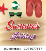 summer holiday background. top... | Shutterstock . vector #1075077557
