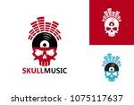 skull music logo template... | Shutterstock .eps vector #1075117637