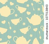 seamless pattern with tea pots... | Shutterstock .eps vector #107513843