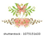 beautiful flower frame vector... | Shutterstock .eps vector #1075151633