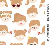 seamless pattern with cute... | Shutterstock .eps vector #1075154003