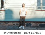 fashionable model man with... | Shutterstock . vector #1075167833