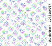 teamwork seamless pattern with... | Shutterstock .eps vector #1075169087