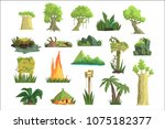 tropical jungle landscape set ...