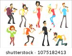 men and women singing karaoke... | Shutterstock .eps vector #1075182413