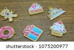 cookies pattern set on... | Shutterstock . vector #1075200977