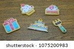cookies pattern set on... | Shutterstock . vector #1075200983