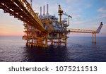 offshore oil and rig platform... | Shutterstock . vector #1075211513