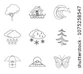 atmospheric condition icons set.... | Shutterstock .eps vector #1075258547
