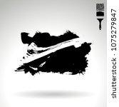black brush stroke and texture. ... | Shutterstock .eps vector #1075279847