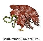 eagle devouring snake mexican... | Shutterstock .eps vector #1075288493