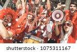 friends football supporter fans ... | Shutterstock . vector #1075311167