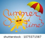a cheerful sun in sunglasses... | Shutterstock .eps vector #1075371587