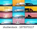 set of trucking industry... | Shutterstock .eps vector #1075373117