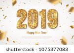 happy new year banner with gold ... | Shutterstock .eps vector #1075377083