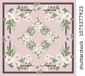 scarf floral print. russian...   Shutterstock .eps vector #1075377923