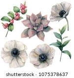watercolor floral set with... | Shutterstock . vector #1075378637