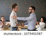 team leader handshaking... | Shutterstock . vector #1075401587