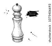 pepper and salt mill vector... | Shutterstock .eps vector #1075406693