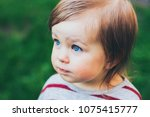 little toddler beautiful girl... | Shutterstock . vector #1075415777