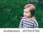 little toddler beautiful girl... | Shutterstock . vector #1075415783