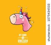 vector funny cartoon cute pink...   Shutterstock .eps vector #1075434533