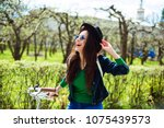 cheerful modern hipster... | Shutterstock . vector #1075439573