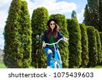 cheerful modern hipster... | Shutterstock . vector #1075439603