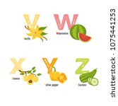 fruits and vegetables alphabet. ... | Shutterstock .eps vector #1075441253