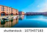 albert dock in liverpool during ... | Shutterstock . vector #1075457183
