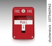 fire alarm system. pull danger...   Shutterstock .eps vector #1075460963