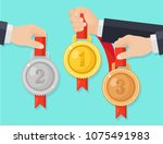 set of gold  silver  bronze... | Shutterstock .eps vector #1075491983