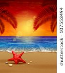 Sea sunset vector illustration. Paradise beach. - stock vector