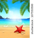 Seascape vector illustration. Paradise beach. - stock vector