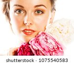 young beauty woman with flower... | Shutterstock . vector #1075540583