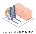 forklift with boxes on pallets... | Shutterstock .eps vector #1075549733