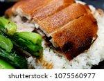 roasted suckling pig rice  | Shutterstock . vector #1075560977