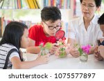 asian students and teach study... | Shutterstock . vector #1075577897