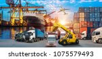 logistics and transportation of ... | Shutterstock . vector #1075579493