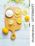 elder flower drink ingredients...   Shutterstock . vector #1075586057