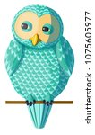 funny curious turquoise owl...   Shutterstock .eps vector #1075605977