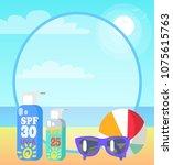 poster showing sea coast.... | Shutterstock .eps vector #1075615763