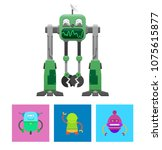 robots collection with faces... | Shutterstock .eps vector #1075615877