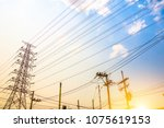 electricity concept  close up... | Shutterstock . vector #1075619153