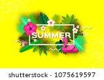 pink flamingo float. pink... | Shutterstock .eps vector #1075619597
