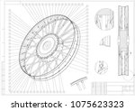drawing and 3d model wheels... | Shutterstock .eps vector #1075623323