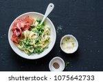 fettuccine pasta with creamy... | Shutterstock . vector #1075642733