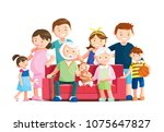 warm big family portrait with... | Shutterstock .eps vector #1075647827